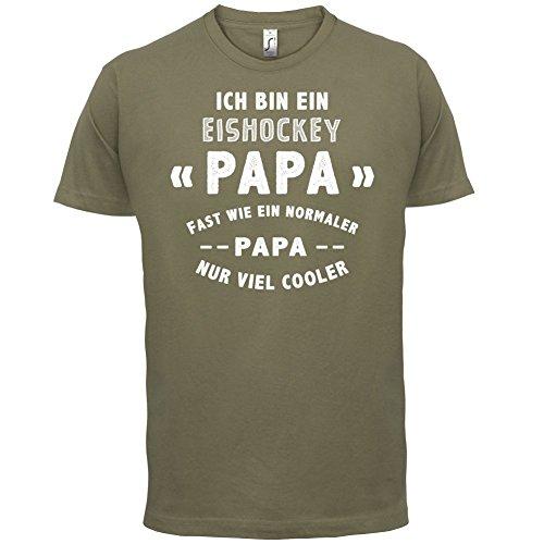 Ich bin ein Eishockey Papa - Herren T-Shirt - Khaki - L (Lycra Eis)