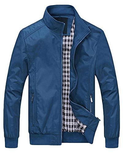 QitunC Uomo Giubbotto Bomber Plus Size Slim Colletto Dritto Giacca Cappotto Capispalla Trapano Blu L