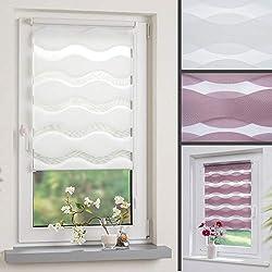 DECOLIA Duorollo/Doppelrollo im Wellendesign mit verstellbaren Klemmträgern, Breite: 90 cm/Länge: 150 cm, Farbe: weiß