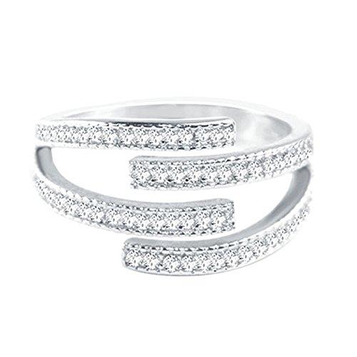 AIUIN 925 Silberring Mehrschichtiger Diamant Silber Offener Ring Schmuck Zubehör für Freunde Liebhaber Geschenk Einstellbare Größe Mit Einer Schmucktasche