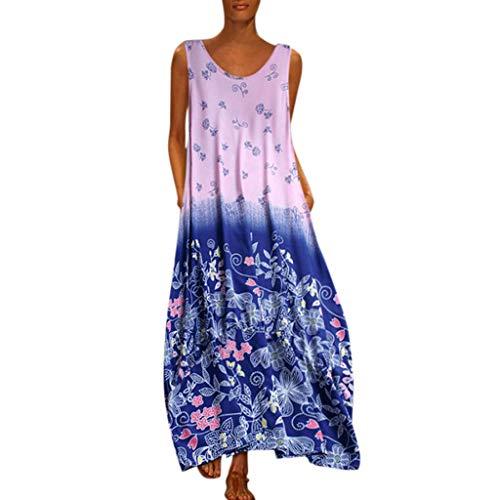 QIMANZI DamenBeiläufig Ärmellos V-Ausschnitt Blumendruck Maxi Tank Langes Kleid(Z Blau,XL)