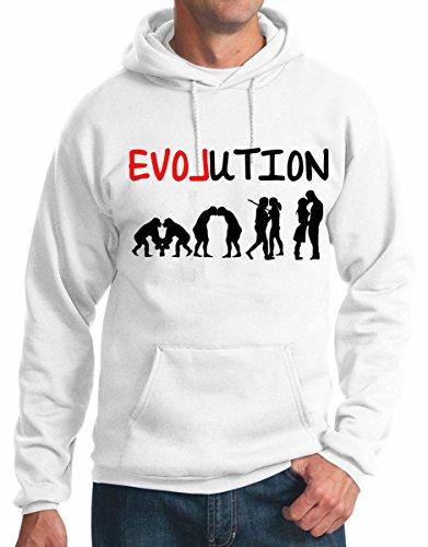 felpa con cappuccio Evolution of love evoluzione dell'amore humor divertente S M L XL XXL maglietta by tshirteria bianco