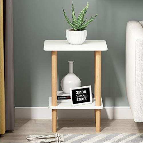 M-JH Table d'appoint, Table Basse carrée de Table de Chevet de Table d'extrémité Double, Facile à Assembler, décor intérieur et extérieur (Couleur : Blanc, Taille : 40CM)