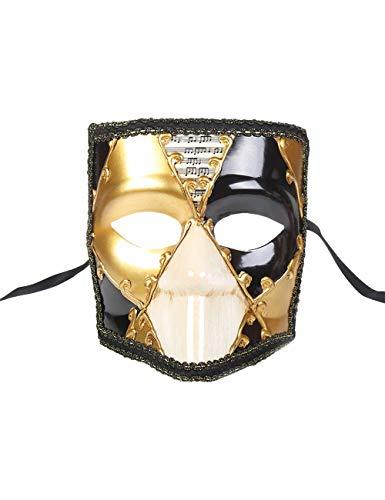 TAAMBAB Maskerade Bauta Masken Vintage Venezianische Musikalische Partei Masken Retro Römischen Griechischen Stil Lady Girl Men Augenmaske für Halloween Maskerade Kostüm Kostümball (Burlesque Girl Kostüm)