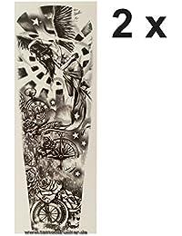 Tatuaje XXL – Brújula Ángel Reloj estrellas Rosas – Brazo pierna ...