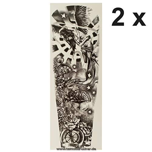 pass Engel Uhr Sterne Rosen - Arm Bein Körper Haut Tattoo TQB059 (2) ()