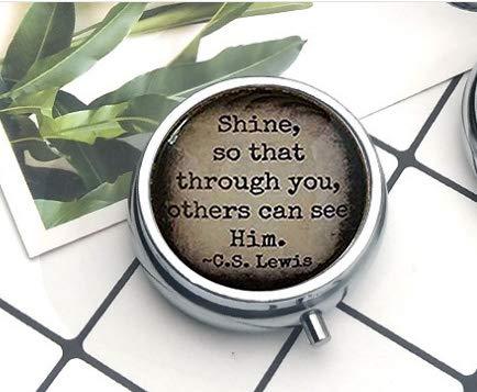 Halskette mit Glänzender Zitat Glas Anhänger Shine Your Light christliches Geschenk religiöse Geschenkidee Die Pillendose ()