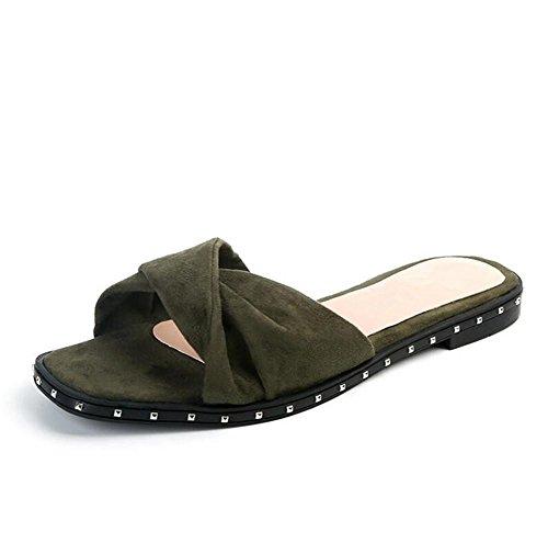 Chinelas Rebites Da Camurça Aberto Um Respirável Verde Sandália Mulheres Verão Fonte Lldmb Praia Toe Antiderrapante De Chinelos Sapatos Com De zE14q6gw