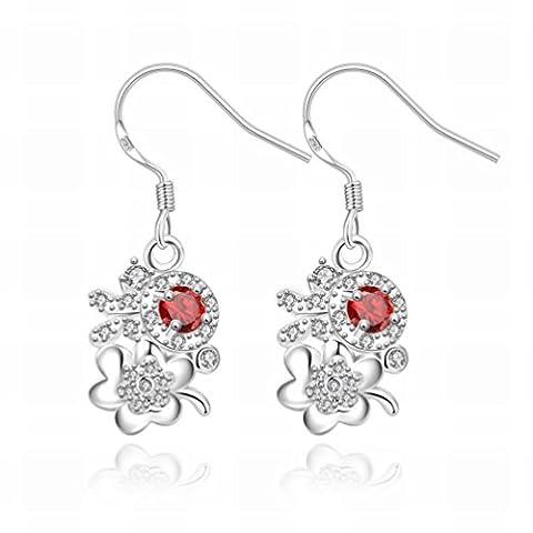 Fashion Silver Fashion Romantic Flower Lady Lollipop Lady / Acier Inoxydable / Anti-allergique / Silver Shine / Diamond / Fish Hook Earrings,A