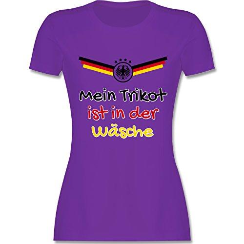Fußball-Europameisterschaft 2020 - Mein Trikot ist in der Wäsche Deutschland - M - Lila - L191 - Damen Tshirt und Frauen T-Shirt