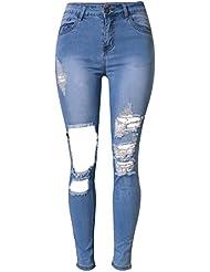 SaiDeng Mujeres Pantalones Vaquero Casual Cintura Alta Elasticidad Personalidad Microelástico Delgado Zarco 36