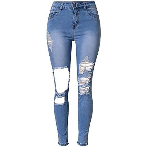 SaiDeng Mujeres Pantalones Vaquero Casual Cintura Alta Elasticidad Personalidad Microelástico Delgado Zarco