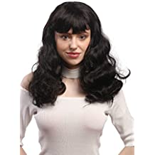 WIG ME UP ® - 90942-ZA1 Peluca señoras Halloween Carnaval negro ondulado largo flequillo
