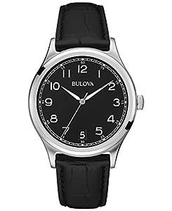 Bulova Classic Vintage - Reloj con mecanismo de cuarzo para hombre, esfera analógica, correa de cuero negro