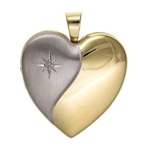 24MM Wide 2 Tone Silver & Gold Diamond Set Family Heart Locket - 925 Sterling Silver - Supplied in Free Gift Box or Gift Bag