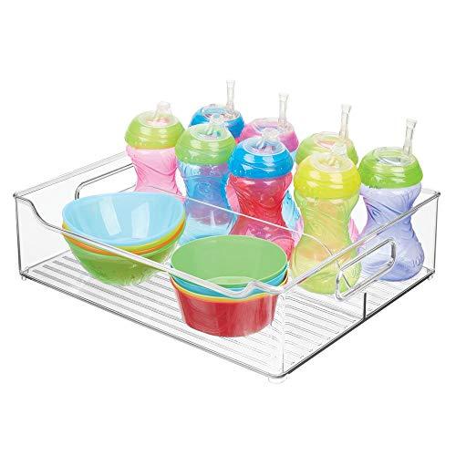 Preisvergleich Produktbild MetroDecor mDesign Kinderzimmer Organizer – große Sortierbox mit praktischen Griffen,  ohne Deckel – BPA-freier Kunststoffbehälter mit 2 Fächern für Spielzeug,  Windeln,  Stofftiere & Co. – durchsichtig