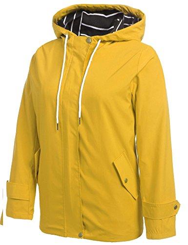 ZEARO Damen Regenjacke Regenmantel Kapuzenjack Sport Jacke Funktionsjacke Outdoor Winddicht Wasserdicht Gold