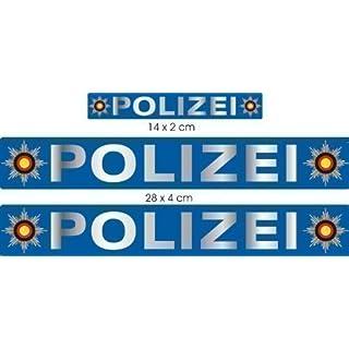 CHROM Polizei Aufkleber Set A4 - groß, Aufkleber für Auto Truck Bike Boot