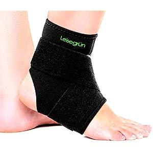 Leisegrün Sprunggelenkbandage mit Klettverschluss, stützt den Fuß beim Sport wie Handball, Fußball, Volleyball. Fußgelenkbandage für Damen, Herren und Kinder, rechts und Links tragbar, schwarz