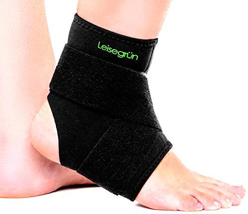 Leisegrün Sprunggelenkbandage mit Klettverschluss, stützt den Fuß beim Sport wie Handball, Fußball, Volleyball. Fußgelenkbandage für Damen, Herren und Kinder, rechts und Links tragbar, schwarz, L/XL