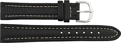 Cinturino Orologio in Nero Pelle - 18mm - - Fibbia in Argento acciaio...