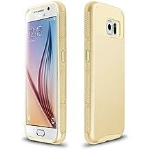 Xinda Samsung Galaxy S6 carcasa antigolpes doble capa resistente carcasa Armor PC caso duro para Samsung Galaxy S6 , dorado,