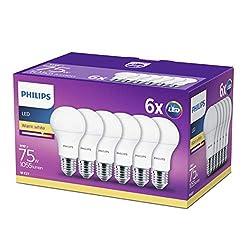 Philips LED Lampe 11 W ersetzt 75 W, E27, warmweiß (2700K),1055 Lumen, 6er Pack