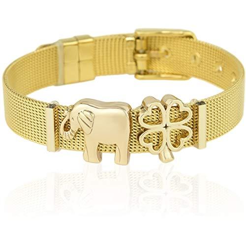 SUNIANA - Mesh Armband Set mit Charms ||Lucky|| individuell erweiterbar