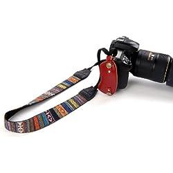 Beiuns - Retro estilo bohemio - Hombro de la cámara Correa de cuello antideslizante Cinturón para DSLR SLR de la cámara cámaras réflex Canon Nikon Panasonic Sony Olympus