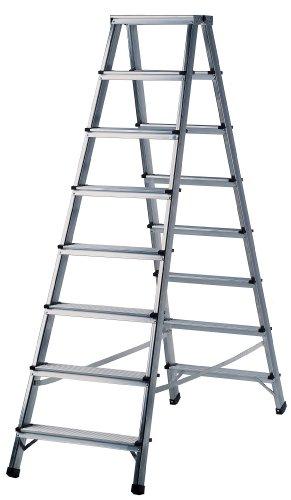Brennenstuhl 1412070 Doppelstufenleiter Aluminium Handwerkerqualität 2 x 6 Stufen
