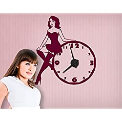 Apalis Vinilo Adhesivo con Reloj Pin Up Girl