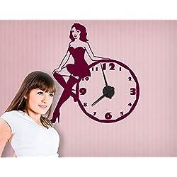 Apalis Vinilo Adhesivo con Reloj no.CG176 Pin Up Girl, Colour:Yellow Green;Dimensions:80cm x 72cm;Colour Clockwork:Schwarz