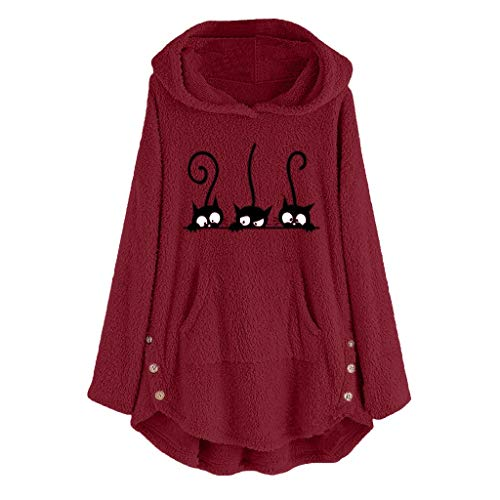HULKY Donna Camicie Donne Fuzzy Casual Loose Sweatshirt Signore Aggiornamento Oversize Inverno Caldo Jumper Faux Fleece Hoodies Tops(Wine 3,S)