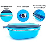 Magnas Homio Stainless Steel Lunch Box Tiffin Box Press Airproof Take Air Out Longer Vacuum Preserving (Blue)