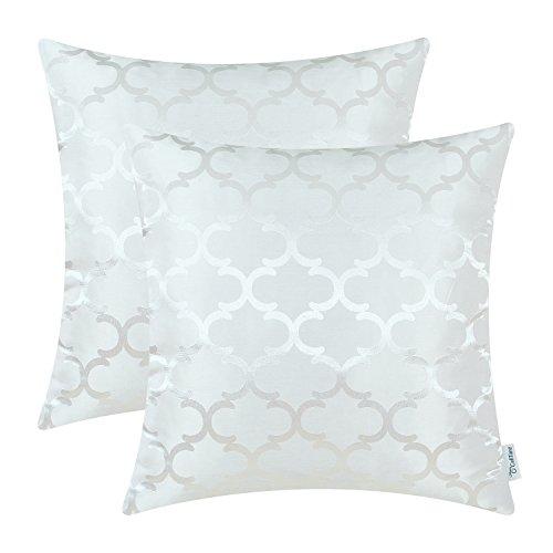 2 Stück Calitime Überwurf Kissenbezüge Beide Seiten, Geometrische 50cm X 50cm Weiß