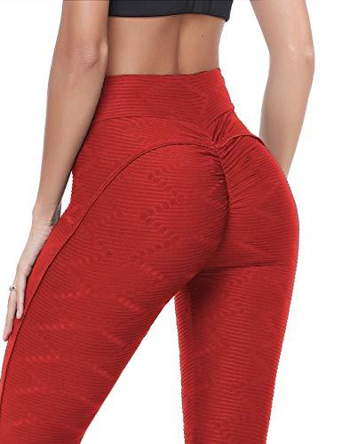 FITTOO Damen Zwei Streifen Leggins gestreift Laufhose Sport Leggings Capris Yoga Pants Training Tights,S,Rot01 Bio-capri-leggings