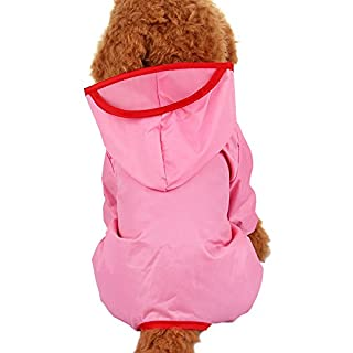 Alxcio Dog Raincoat Puppy Doggy Jumpsuit Hoodie Jacket for Small Medium Large Dogs, Protect your pet dog from getting Rain and Dust - Pink, Size XXL