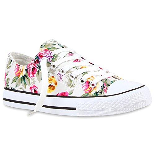 Damen Sneakers Turn Freizeit Low Sneaker Übergrößen Prints Glitzer Denim Schuhe 118913 Weiss Blumen 38 Flandell