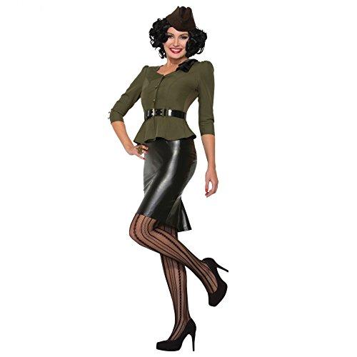 Pin up Kostüm Army Lady 40s S/M Jacke grün Rock schwarz Fasching Armee (Pin 40's Up Kostüme)
