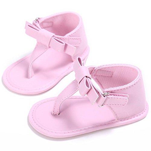 MiyaSudy Filles Antidérapant Bébés Premiers Chaussures PU Semelles Souples Sandales été Antidérapage Havaianas Rose