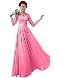 Shujin Damen Elegant A-Linie Ärmellos oder Kurzarm Brautjungfern Kleid  Floral Spitzen Abendkleid Prinzessin Tüllkleid Ballkleid Cocktail… 8730a464cdab