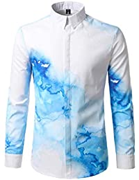 BUSIM-Men Long Sleeve Shirt Fashion Water Stained Print Personality Slim Casual Slim Lapel T-Shirt Top For Clearance...