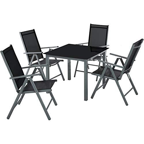 TecTake Aluminium Sitzgarnitur 4+1 Sitzgruppe Gartenmöbel Tisch & Stuhl Set - Diverse Farben - (dunkel grau | Nr. 402168)