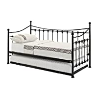 Home Detail French Day Bed in Black or White Metal | Available With or Without Trundle Bed Option