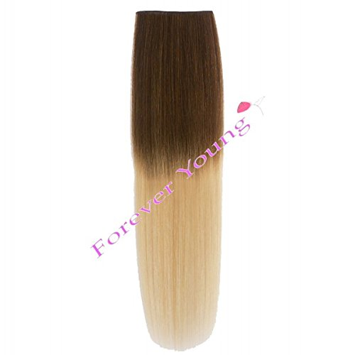 Forever Young Dip Dye Hair Extensions Clip In 100% Echthaar F.a.M.E. Hair Collections Ombre hellbraun zu Hellblond halben Kopf Set 40 g (Hair Young Extensions Forever)