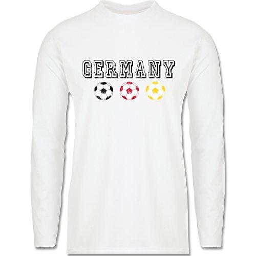 EM 2016 - Frankreich - Germany mit Fußbälle Vintage - Longsleeve / langärmeliges T-Shirt für Herren Weiß