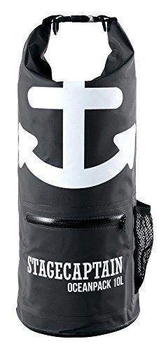 Stagecaptain OP-125 Dry Bag 10 Liter - Wasserdichte Tasche mit Rucksack-Gurten - Outdoor Seesack für Segeln, Kajak, Kanu, Schwimmen, Strand, Camping - Trockensack zum Wandern - 500D PVC Schwarz