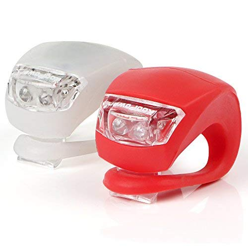KooPower LED Bike Lights Set, 2 Pack, White & Red