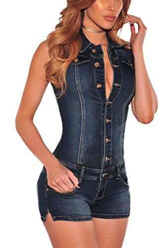 Zilcremo Damen Jumpsuits Ärmellose Kurze Jeans Und Denim Overalls Rompers blau M