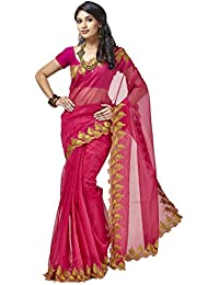 Sakhi Womens Supernet Saree_SR-0823_Multi-coloured_Free Size